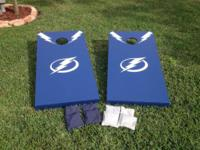 Tampa Bay Lightning handcrafted birch wood corn games