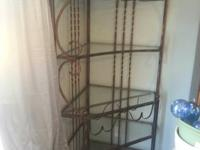 Ornate corner bakers / wine rack hold 4 bottles and