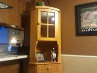 ***LOWERED PRICE*** Wooden corner china cabinet. 18""