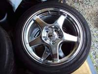 Set of 4 Chrome Corvette 5 spoke wheels (2) 17X9.5 and