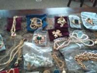 Boxes of costume jewelry watches, necklaces, earings,