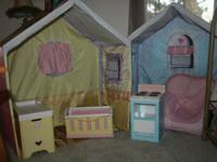 Cottage rose two piece playhouse complete with 2 blow