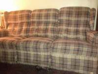 La z boy couch recliner on both ends has alot of wear