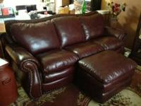 New condition XL leather sofa with large matching