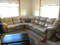 $300 obo. L-shape faux leather couch. This is a larger