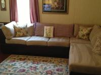 Nice couch with chase section light tan and 3 piece