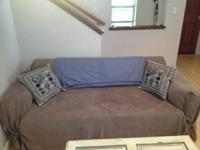 ikea couch plus cover (navy)  loveseat that pulls out
