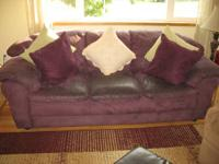 Purple Microfiber Couch and Oversized Chair with