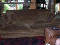 Brown Couch. Very Sturdy Material, comfy and soft. Does