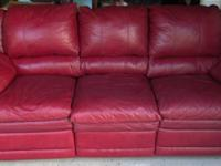 Genuine Leather Burgundy Couch With Recliners $2002 End