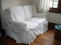 couch-love seat with cover and pull out bed call  //