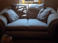 I have a blue with white stripes living room set. The