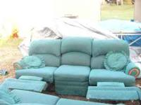 Navy Leather Wingback Recliners W Nail Head Trim For