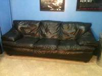 Black Natuzzi Leather Couch, Loveseat, Chair and 2