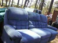 Nice BLUE sofa. - - - Has TWO recliners. Pictures here!
