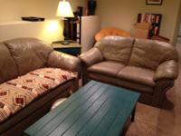We have a large leather couch, loveseat, ottoman, end