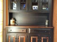 Beautiful black & wood stained hutch.  New condition,