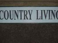 For sale is a used wood sign that says Country Living.