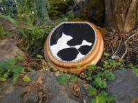 Western cowhide toilet seat. Solid oak embellished with