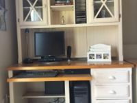 Country white computer desk with hutch and filing
