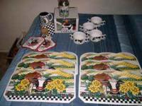 8-cow soup mugs, 6-cow placemats, 2-new cow potholders,