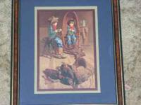 Pair of little cowboy pictures frames included of