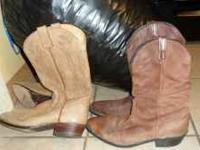 2 pair of brown cowboy boots. Size 10 & 10.5 $15.00