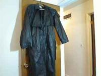 Black leather duster. Western style leather duster/long