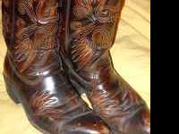 Mens Brown Cowboy Leather Boots size 9 D New Heels