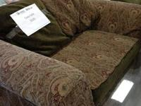Cozy sofa with reversible pillows.  Must see!  Paisley