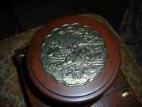 craft round wood box with oriental print on tin top -