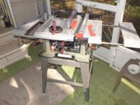 "Craftsman 10"" table saw with stand, 3 HP, 2 side"