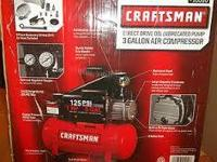 Brand New Craftsman 3 Gallon Horizontal Air Compressor