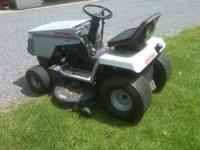 "18 hp twin. 42"" cut. 5 speed trans. Runs well. ."