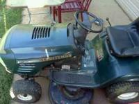 "CRAFTSMAN RIDING MOWER 19HP 42"" CUT WITH MULCHING DECK."