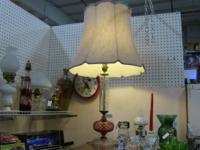 Lovely tall glass base lamp with elegant shade.