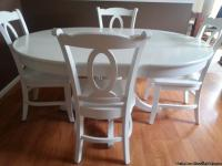 "Avalon 45"" white round pedestal table with 17"" leaf,"