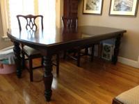 Crate & Barrel Dining Room Table.  Dark, Solid Mahogany