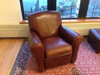 Crate & Barrel leather reclining club chair. In great