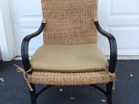 "Pair of rattan chairs from Crate & Barrel.  34"" tall,"