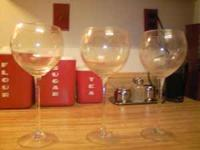 set of 3 good quality wine glasses from crate & barrel.