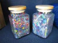 Heavy duty Glass Containers have crayon colors to make