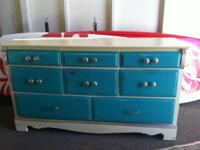 Painted and restored solid wood dresser by Crazee
