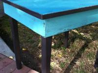 Painted and restored solid wood end table by Crazee