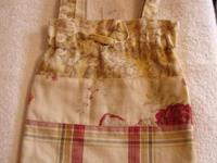 Handmade Red/Cream/Floral Drawstring Tote. New Size: