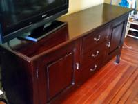 Solid rosewood credenza handcrafted in Indonesia.