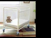 WHITE METAL COSCO BABY BED WITH MATTRESS LIKE NEW. GOOD