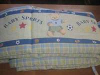 I have some crib bedding Crib bumper boy- $3 If you are