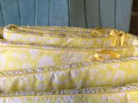 Yellow & gray baby crib bedding from pottery barn comes