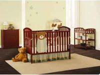 Cherry baby crib and matching changing table without